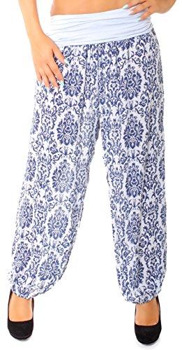 Easy Young Fashion Damen Haremshose Orientalisch Gemustert Eisblau