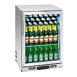 Royal Catering RCGK-138S Minibar Kühlschrank Getränkekühlschrank Flaschenkühlschrank mit Glastür (138 L, 2–10 °C, abschließbare Tür mit Doppelverglasung, LED Beleuchtung, Edelstahl)
