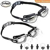 Eocusun Gafas de Natación, 2 Pack Swimming Goggles Anti Fog y Protección UV, Vista Clara Gafas para Nadar+Tapones para Los Oídos&Clip de Nariz para Adulto Hombres Mujeres Júnior Negro/Negro