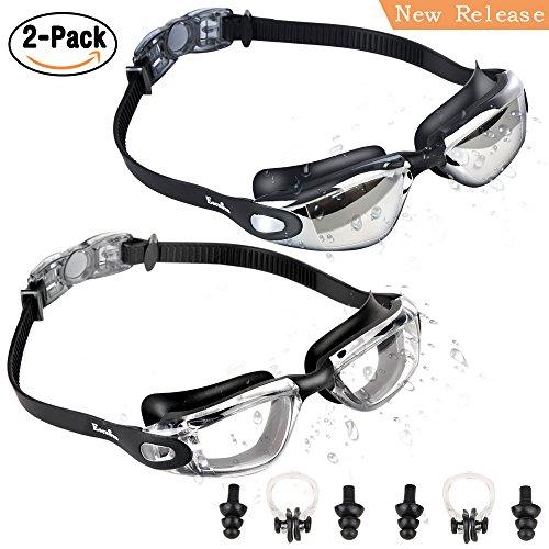 EocuSun 2 Pack Schwimmbrille, Anti Fog und UV-Schutz Klare Sicht Schwimmen Brillen, Ohrstöpsel & Nasenklammern Schwimmbrille Für Erwachsene Männer Frauen Junioren