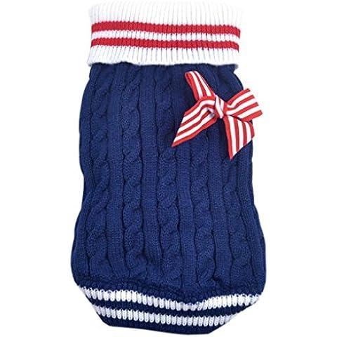 QHGstore Escudo del gato del perro del animal doméstico del suéter del Bowknot del perrito de la marina de guerra de la raya de ropa de la ropa Azul S