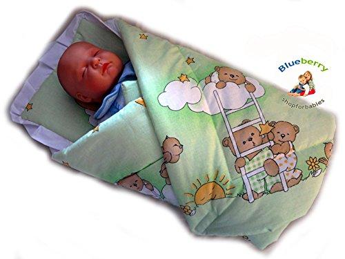Blueberryshop Wickeltuch/Decke mit Kissen für Neugeborene Babys, mit grüner Bär auf der Leiter Druck