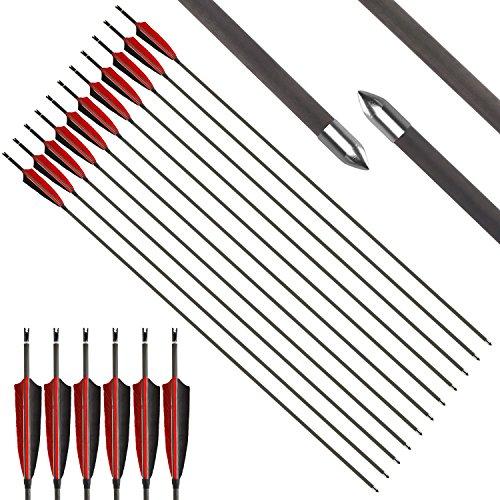 VERY100 Pfeile aus Carbon für Bogenschießen 4.2 mm für Compound und Recurve Bogen 32 Zoll (12 stück)