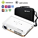 WOWOTO H8 Video Projector,3D DLP Projector 1280x800 Support 1080P Full HD, Android 4.4 OS, with Keystone, HDMI, WIFI & Bluetooth