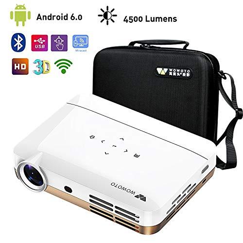 WOWOTO H10 Mini Beamer Videoprojektor Android 6.0 Intelligenter 3D DLP-Projektor 4500 Lumen Unterstützung 4K 1080P mit 2 GB RAM / 16 GB ROM HDMI WiFi Bluetooth mit tragbarem Tragekoffer