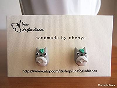 Boucles d'oreilles totoro Miyazaki bijoux fait main en pâte polymère fimo