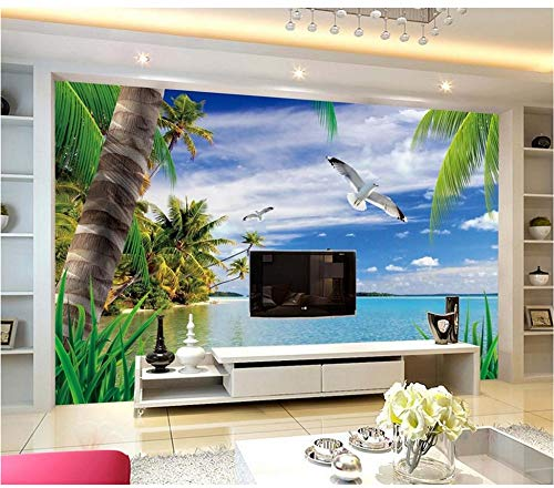 Rureng Schöne Strandlandschaft Kundenspezifische Fototapete 3D Stereoskopische Tapete Wohnzimmer Tv Hintergrund Wand-250X175Cm