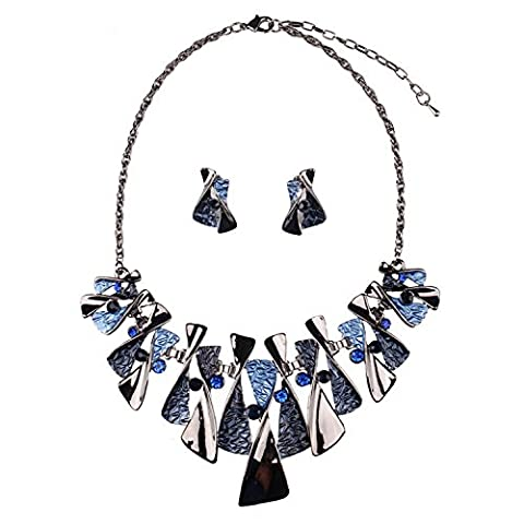 XZX Blue butterfly decoration necklace earrings set , blue