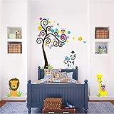 Mddjj Home Küche Kunstwerk Cartoon Eule Giraffe Löwen Zebra Bunte Baum Wandaufkleber Für Kinderzimmer Wand Kunst Dekor Tiere Poster Diy Abziehbilder