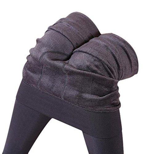 Fulltime® Les Femmes Hiver épaisse Toison Chaude Doublée Thermiques Leggings Pantalons extensibles Gris