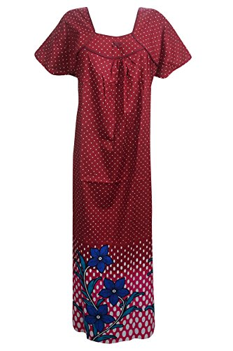 Indiatrendzs Women's Maxi Dress Cotton Dot Print Maroon Night Wear Night Gown  available at amazon for Rs.499