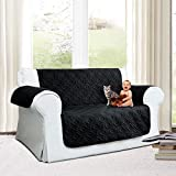Imperial Rooms New Luxury Quilted Furniture Cover Sofa Protector Settee Cover Throw (Two Seater, Black) Water Resistant Embossed Pattern Available in Three Sizes 1, 2 & 3 Seater