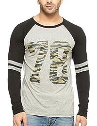 Gritstones Round Neck Full Sleeve Ranglan Printed T Shirt GSFSRGLN1288GMBLK