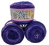 Sweet Roll 3 x 140 Gramm Himalaya Strickwolle mit Farbverlauf, 420 Gramm Wolle Mehrfarbig, Farbverlaufswolle (lila Flieder)