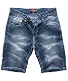 Rock Creek Herren Shorts Jeansshorts Denim Stretch Sommer Shorts Regular Slim [RC-2134 - Blue White - W34]
