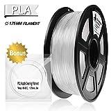 PLA Filament Transparent, 3D Hero PLA Filament 1.75mm,PLA 3D Printer Filament,Dimensional Accuracy +/- 0.02 mm, 2.2 LBS(1KG),1.75mm Filament, Bonus with 5M PCL Nozzle Cleaning Filament