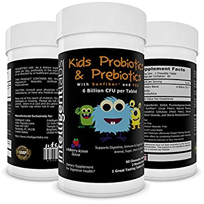 ? Best 6 Billion CFU Kids / Children's Probiotics with Prebiotics ? Best Kids Probiotics on Amazon ? With Prebiotics (Sunfiber® & Fos) for 10x More Effectiveness ? One A Day Chewable Probiotic ? Kids Will Love The Great Taste ? 2 Months Supply Per Bottle
