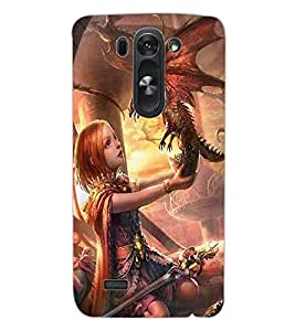 ColourCraft Cute Girl with Baby Dragon Design Back Case Cover for LG G3 S