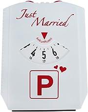 Trend Import Parkscheibe Just Married - Spaßartikel zur Hochzeit - weiß/rot - Geschenkidee für Sie & Ihn - Hochzeitsgeschenk