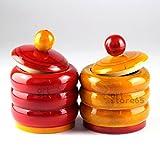 #3: Kumkum Haldi Pot Handcrafted Wooden Pot (Red Yellow Colour) PC: 21-L-KK-ST
