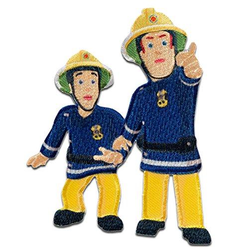 Aufnäher/Bügelbild - Feuerwehrmann Sam Sam & Elvis - blau - 7,9x6,3cm - © Prism Art & Design Limited Patch Aufbügler Applikationen zum aufbügeln Applikation Patches Flicken