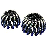 Sharplace 2 x Acryl Doppelreihen Pferdeschwanz Halter Haarspangen Haarteile - Geschenk - Blau