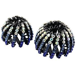 Sharplace 2 x Acryl Doppelreihen Pferdeschwanz Halter Haarspangen Haarteile – Geschenk