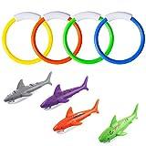 YHmall 8 Stücke Pool Spielzeug, 4 STK. Tauchringe und 4 STK. Tauchen Torpedos Bandits Sommer Tauchspielzeug für Kinder Gut Schwimmen Lernen MEHRWEG