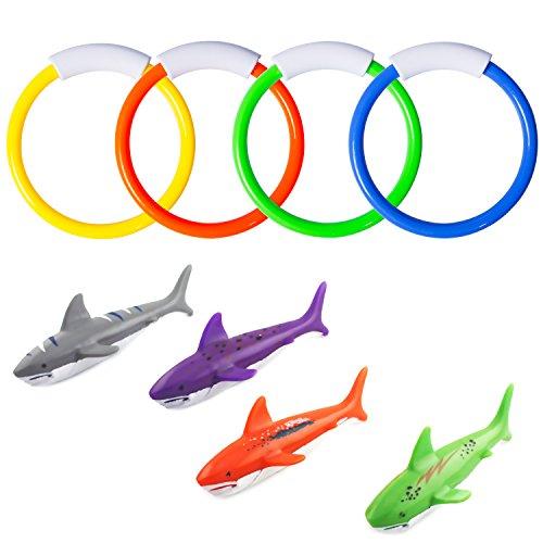 YHmall 8 Stücke Tauchen Spielzeuge, 4 STK. Tauchringe und 4 STK. Tauchen Torpedos Bandits Sommer Unterwasser Schwimmen Pool Spielzeuge für Kinder