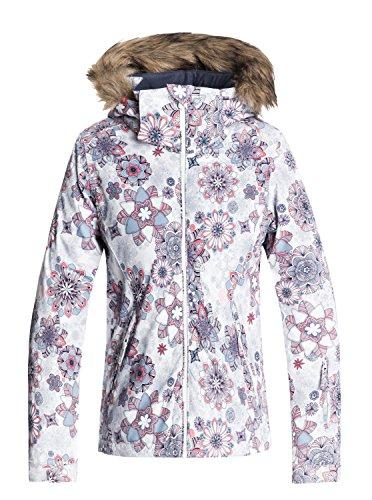 Roxy Kinder Hoodie (Roxy Mädchen Jet Ski Snow Jacket, Bright White-Snowflakes, 16/XXL)