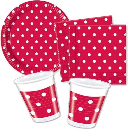 Red Dots Partygeschirr - Partyset Becher Teller Servietten (Weiße Pappteller Und Rote)