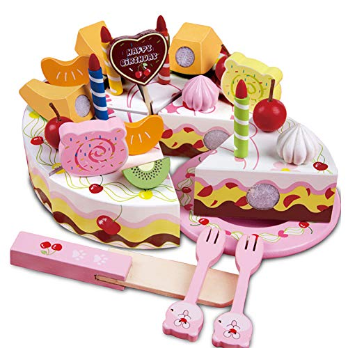 Onshine Geburtstagstorte aus Holz zum Schneiden Küchen Spielzeug Set Rollenspielen für Kinder
