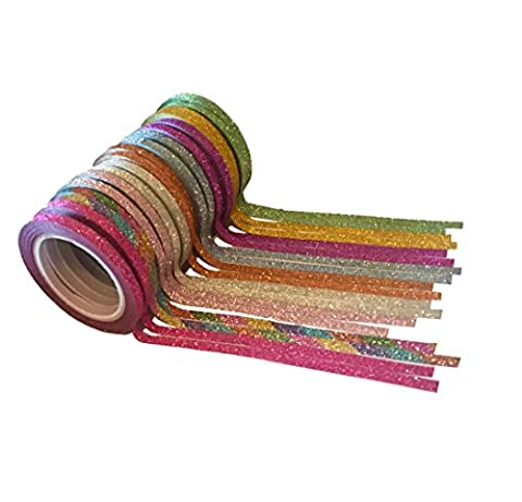 Lot de 18 Rubans adhésifs Paillettes Washi Tape - 3 mm /5 m mètres de long - Vert, Doré, Violet, Bleu clair, Rouge orangé, Argent, Multicolore, Rose clair, Rose