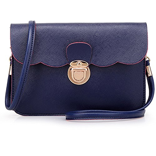 Meoaeo Il Coreano Fashion New Borsetta Tracolla Messenger Bag Cream-Colored Doppia Deep blue