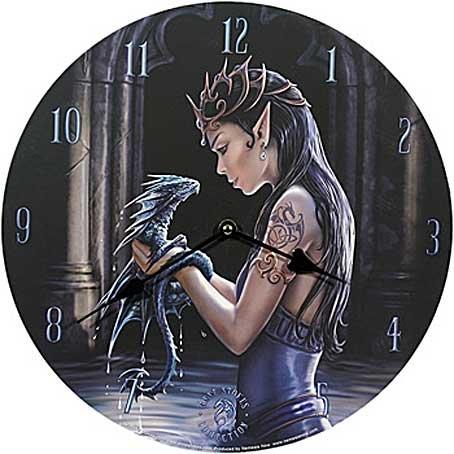 Ars-Bavaria Water Dragon Anne Stokes - Reloj de pared, diseño de mujer y dragón
