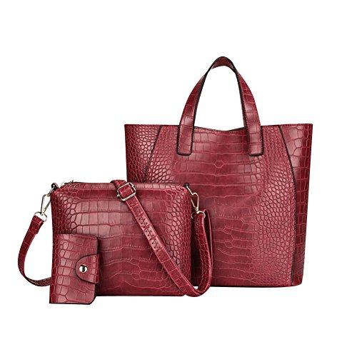 07e73d3b4506f Damen Vintage PU Leder Handtasche Schultertasche Shopper Taschen  Umhängetasche 3 Stück Rot