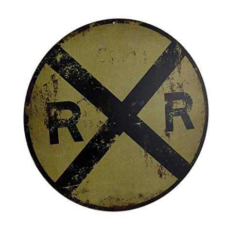 zeckos Vintage-Finish Rund RR Railroad Crossing Sign 30,5cm