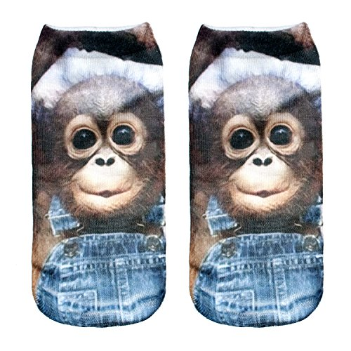 Modische Socken, 3D-Animal Print, Damen/ Herren, Baumwolle, Knöchelhöhe Gr. Small, affe -