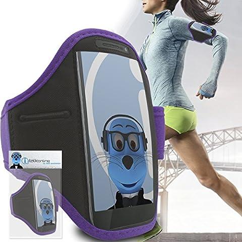iTALKonline Motorola Razr D3 XT919 Viola Luce Nero regolabile acqua / resistente all'umidità Sports GYM Jogging Correre copertura della cassa della fascia di braccio del bracciale con soldi chiave cuffia tasca