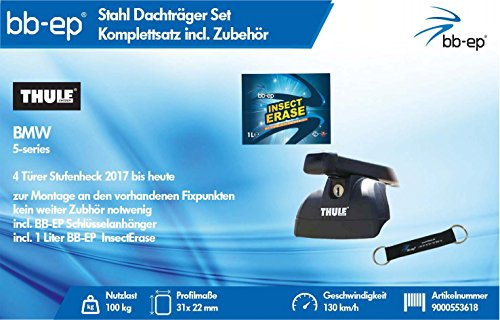 BB-EP/Thule 9000553618 Kompletter Premium Stahl Dachträger für BMW 5-Series 4 Türer Stufenheck 2017 bis Heute - Komplettset abschließbar - Inkl Schlüsselband und Insect Erase