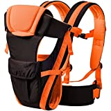 Chinmay Kids 4 in 1 Deluxe Series 4 Way Carrying Position Wide Shoulder Straps Adjustable Belts and Cushioned Inner Portions Baby Carrier (Orange)
