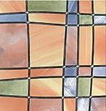bunte Fensterfolie Barcelona - Glasdekorfolie Bleiglas Look selbstklebend adhesive 0,45m x 2,00 m