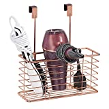 mDesign Over-The-Door Bathroom Hair Care & Styling Tool Organizer Storage Basket for Hair Dryer, Flat Iron, Curling Wand, Hair Straighteners, Brushes - Hang Inside or Outside Cabinet Doors, Rose Gold