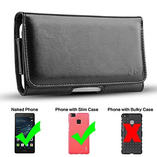 Huawei P9Lite Holster, J & D PU Leder Holster Tasche Schutzhülle mit Gürtelclip, Leder ID Wallet Schutzhülle für Huawei P9Lite (nur Passform mit Naked Huawei P9Lite oder J & D TPU Slim Case oder andere Slim Case auf)