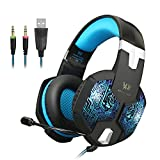 KOTION EACH Gaming Cuffie con Microfono per Video 3,5 Millimetri G1000 Professionale PC Gaming Headset Stereo Bass Auricolari di Isolamento di Rumore Cuffia Respirazione Durante Luce Oreja Colore LED Laptop(Blu)