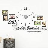 KLEBEHELD® Wandtattoo Uhr Familienzeit mit Fotorahmen und Spruch für Wohnzimmer und Wohnbereich Farbe schwarz, Größe 120x69cm (B x H) | Uhr schwarz | Umlauf 44cm Vergleich