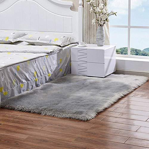 Tappeto in finta pelliccia di agnello/pecora, 60x 90cm, morbido, a pelo lungo, per il salotto o la camera da letto, utilizzabile anche come coperta, Grau, 60 x 90 cm