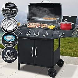 Barbecue a Gas | Griglia con 5 Bruciatori (4+1), in Acciaio, con Termometro e Ruote, 128x97x53 cm, Nero | BBQ Gas, Grill Barbecue