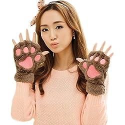 Guantes sin dedos La Haute, con diseño calentito de zarpas de oso o garras de gato Marrón café Talla única