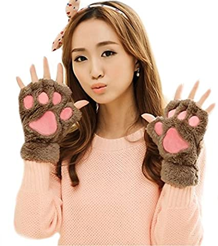LA HAUTE Women Girls Winter Cat Paw Claw Gloves Cute Bear Plush Fingerless Gloves Thick Warm Mittens Color Coffee
